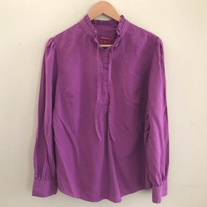 Merona Career Hidden Button Blouse with Tie Size L